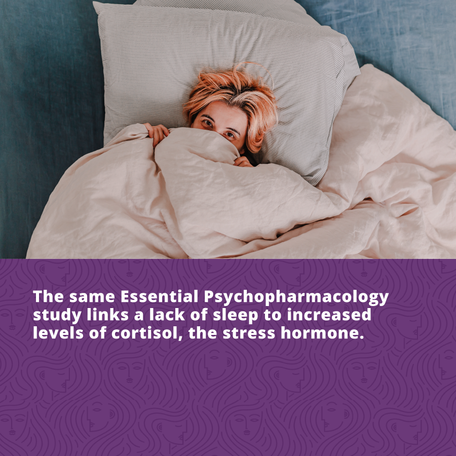 The same Essential Psychopharmacology study links a lack of sleep to increased levels of cortisol, the stress hormone.Lack of sleep is the number one cause of aging