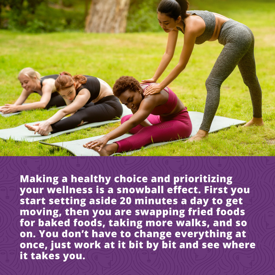 Making healthy choices an prioritizing your wellness is a snowball effect.  wellness and anti-aging