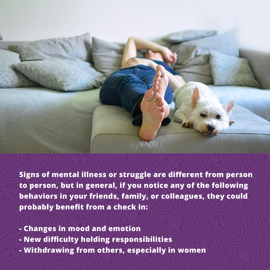 Signs of mental illness or struggle with women's health are changes in mood, difficulty with responsibility, and withdrawing