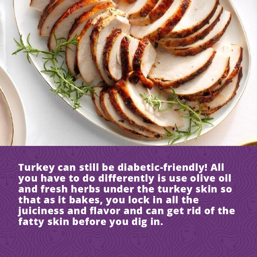TUrkey is a great fholiday food for Women's Diabetes patients. Cook it with EVOO and herbs under the skin